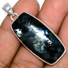 Larvikite Stone - Black Moonstone - Norway 925 Silver Pendant Jewelry AP165854