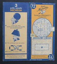 Carte MICHELIN old map n°72 ANGOULEME LIMOGES 1948 60fr Guide Bibendum pneu tyre