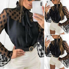 US Womens Bell Sleeve Holiday Tops Mesh Lace Casual Shirt Plus Size Blouse Tee