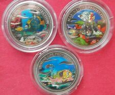 Palau 2001-02-03 Marine Life Protection: (3) $1 c-n proof coins, glittering fish