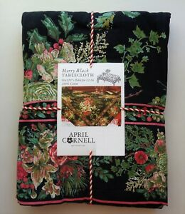 April Cornell MERRY Black Red Green Floral Holiday 60 x 120 Tablecloth Cotton