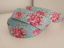 Floral ruban imprimé grosgrain clips cheveux gâteau craft hair bow 1 mètre 38mm