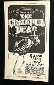 Rare Grateful Dead Poster 1/15/78 Selland Arena Fresno Vintage Jerry Garcia