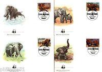 Uganda 1983 WWF African Elephant Animal Wild Life Fauna set of 4 FDCs #W4