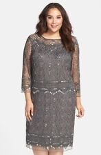 Pisarro Nights 165376 Womens Beaded Shift Dress Plus Size Smoke Size 20W