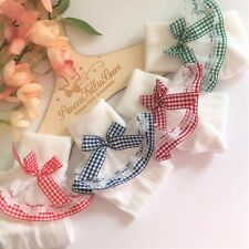 NEW STYLE - Baby Girls White Frilly Gingham Plaid School Socks - Hair Bows Clips