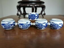 1set 5pcs Asian Bamboo Bird Cage blue white porcelain food cups �花瓷·鸟食�