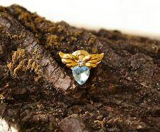 Tone Metal Lapel Pin Pinback Brooch Avon Blue Heart Angel Wings Gold