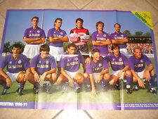 MAXI POSTER 80 X 54 LA SQUADRA FIORENTINA CALCIO 1990-1991 90-91 RETRO CAGLIARI
