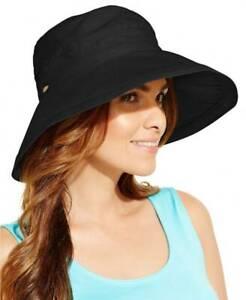 Scala Collezione Women's Cotton Big Brim UPF 50+ Sun Beach Hat Black New