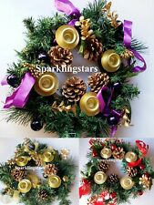 Christmas Advent Wreath with Ribbon Accents and Gold Ring Advent Candle Holder
