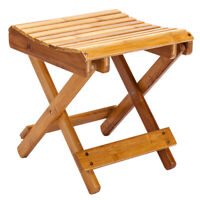 Wooden Collapsible Bamboo Stool Picnic Fishing Seat Chair Kitchen Home