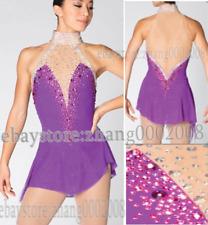 Stylish Ice skating dress.Purple Twirling Dance Competition Figure Skating Dress