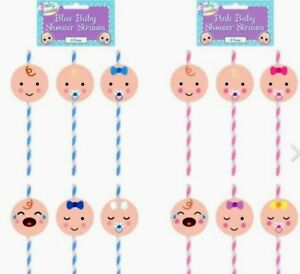Blue / Pink Baby Shower Paper Drinking Straws /Gender Reveal Party Decoration