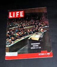LIFE MAGAZINE NOVEMBER 7 TH  1960 EISENHOWER AT THE U. N.