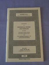 Vintage Sotheby Continental Pottery And Porcelain Catalog  April 1969 Price List
