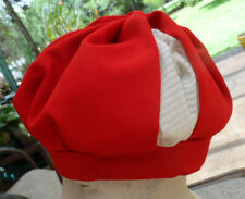 "Vintage Red/White Turban Style Puffy 50s-60s Hat w/Rayon Lining 22 1/2""inside"