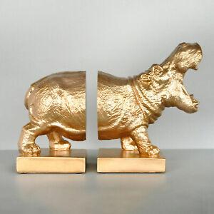 Gold Hippo Bookends - White Moose Designs - Resin Hippopotamus Book Ends