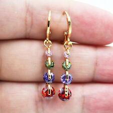 18K Yellow Gold Filled Rainbow Amethyst Ruby Topaz Zircon Lady Drop Earrings