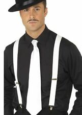 BRACES & TIE White wide mens unisex Suspenders 20s gangster costume accessory
