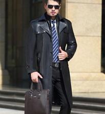 Mens Business Leather Lapel Long Jackets Windbreaker Slim Button Trench Coat sz