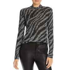 Rag & Bone Womens Zebra Shaw B/W Turtleneck Prined Piping Top Shirt XS BHFO 7936