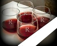 Letter R / Stemless Wine Glasses / Set of 2 / Etched Engraved / Lead-Free  16 Oz
