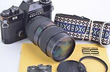 GOOD HONEYWELL PENTAX BLACK ES w/35-105mm f3.5 ZOOM, UV, MANUAL, STRAP, CAP NICE