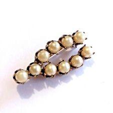 Pin Brooch Y28 Vintage Seed Pearl Wishbone