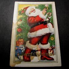 Old Postcards Santa trimming Tree PJ3