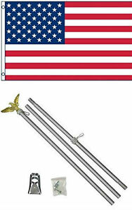 3x5 USA American 50 Star Flag w/ 6' Ft Aluminum Flagpole Flag Pole kit Eagle