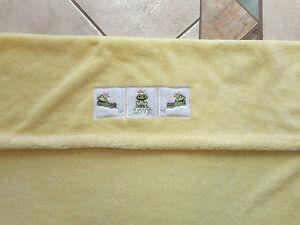 Soft yellow LOVE bunny rug pram crib stroller yellow w frogs plush boa blanket