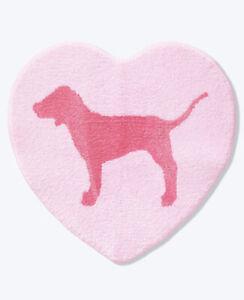 NEW Victoria's Secret PINK DOG bath Dorm Shower Mat rug heart Valentine's Day