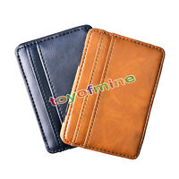 Hot Leather Magic Money Clip Slim Wallet ID Credit Card Holder Case men's gift