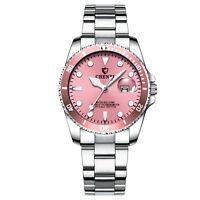 Women Ladies Pink Dial Date Stainless Steel Band Analog Quartz Dress Wristwatch
