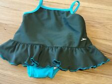 3-6 Months Baby Girl Designer Speedo Dark Green Swimsuit with Swim Pants Built