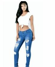 MID BLUE SKINNY TATTERED JEANS  SIZE 31