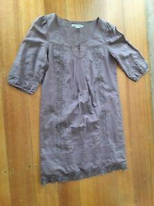 ashley brooke designs women size UK16 cotton/silk 3/4 sleeve shift dress elegant