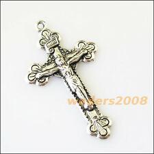 3 New Flower Jesus Cross Tibetan Silver Tone Charms Pendants 28x48mm