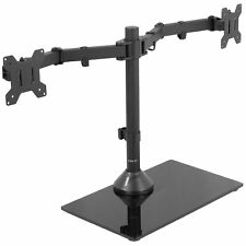 """USED VIVO Dual Monitor Adjustab Mount w Glass Base Stand for 2 Screens up to 27"""""""