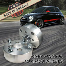 "x2 USA MADE | 4x98 to 4x100 (Fits 4 Lug Fiat 500) | Wheel Adapters / 2"" Spacers"