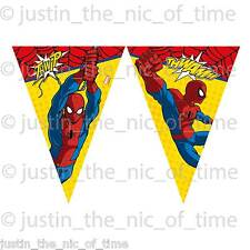 ULTIMATE SPIDERMAN BUNTING FLAG BANNER Boys Cartoon Birthday Party Decorations
