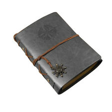 Vintage Classic Retro Leather Journal Travel Notepad Notebook Blank Diary Gray