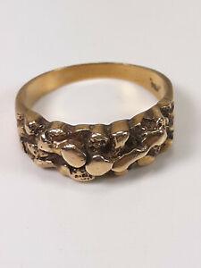 Estate Brutalist Design Nugget 10kt Gold Ring 4 Grams Size 7.75