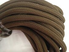 "5/8""x50 feet double braid polyester brown reins leads dock line mooring winch"