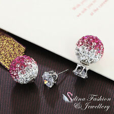 18K White Gold Plated CZ Shamballa Beads Double Faced Stud Earrings 2 Ways Wear