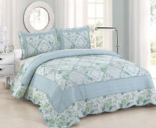 BEVERLY BLUE ROSE 3pc King QUILT SET : COTTAGE RUFFLED RAG GARDEN GREEN PLAID
