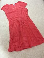 No Boundaries NOBO Coral Lace Dress Fitted Waist Cap Sleeves Size L/G 11-13 BB17