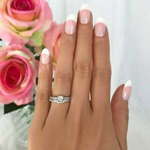 Vintage Floral Engagement Ring Set 0.50 CT Round Cut Diamond 14K White Gold Over