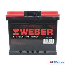 Batteria Auto WEBER (Magneti Marelli) 45Ah 12V 420A DX Pronta all'Uso W45RB